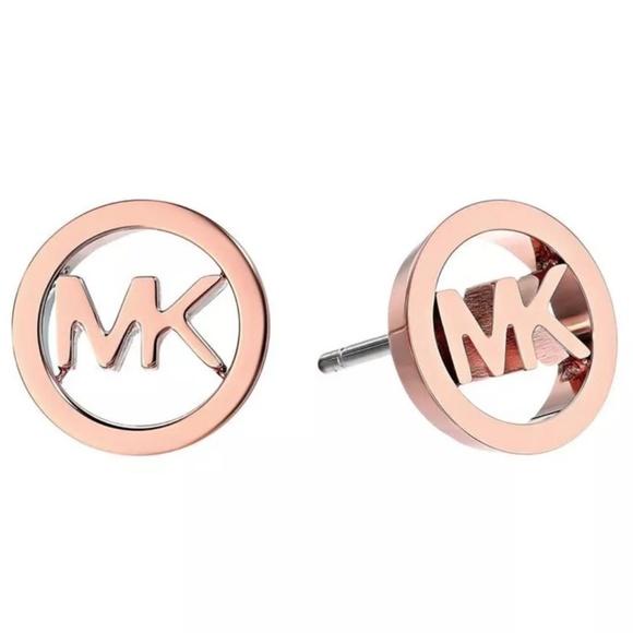 Michael Kors Jewelry - Michael Kors Rose Gold Circle Logo Stud Earrings